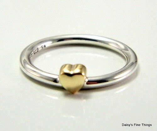 PANDORA Puzzle Heart Ring Sterling Silver & 14k Gold 54 EU
