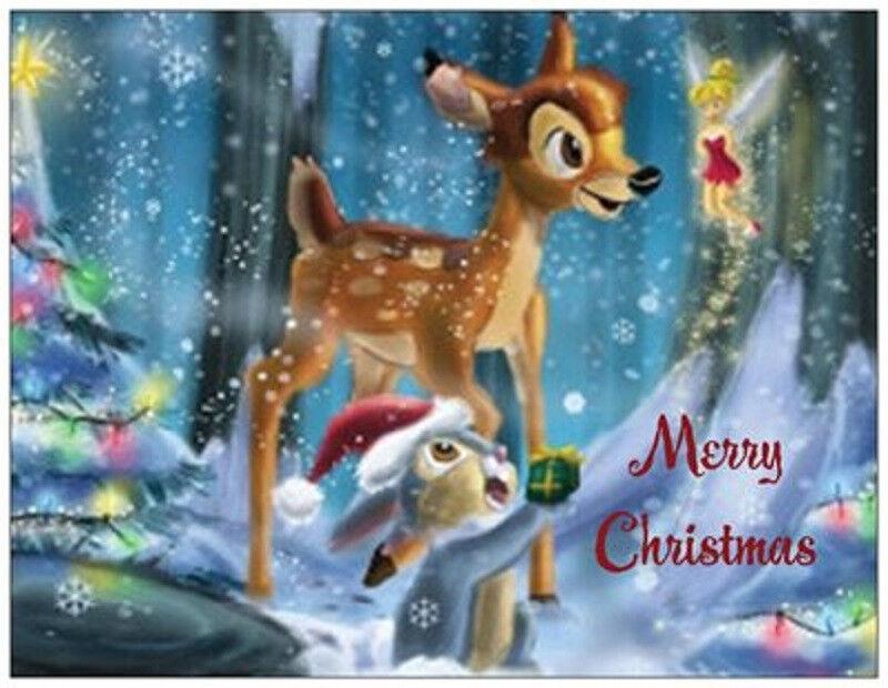 20 Christmas Bambi Thumper Tinkerbell Disney Greeting Flat Cards ...