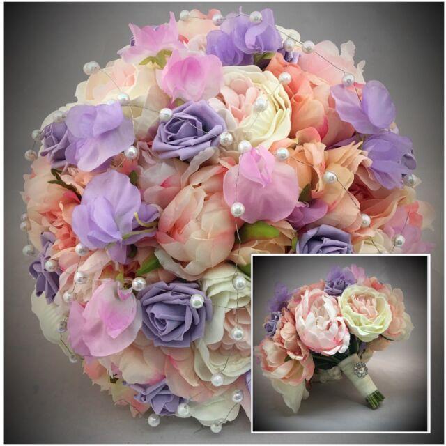 Peonies Sweet Pea Vintage Bouquet BRIDE Brooch Pearls Wedding ...