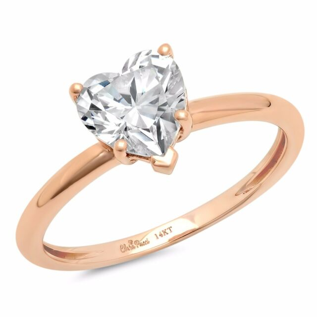 1 0ct Brilliant Heart Shaped Cut Solitaire Engagement Ring Real
