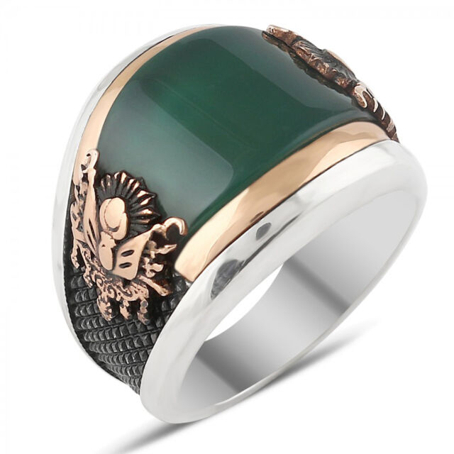 turkish ottoman emerald agate stone 925 k sterling silver mens ring all size - Turkish Wedding Ring