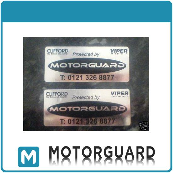 2x clifford viper motorguard car alarm window stickers