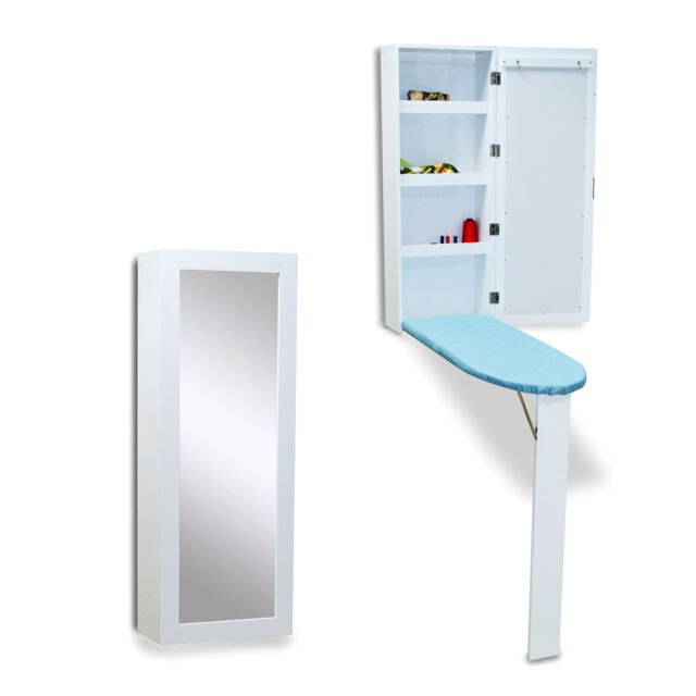 White Ironing Board Wall Mounted Cabinet With Dressing Mirror Hide Away  Storage