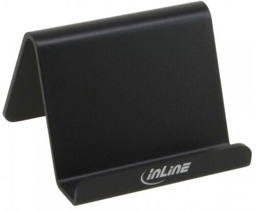 inline smartphone und handy halterung ständer für schreibtisch / regal schwarz