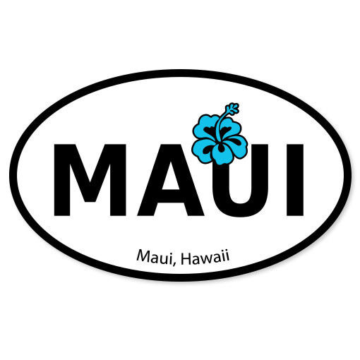 Maui hawaii hi travel oval flag bumper sticker 5 x 3 ebay