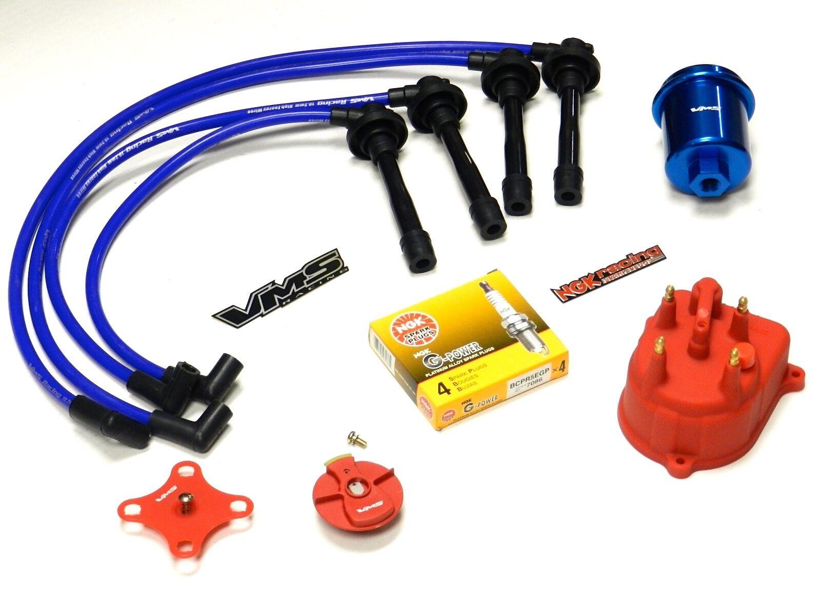 Distributor Cap Rotor Spark Plug Wire Fuel Filter 92-01 Honda ...