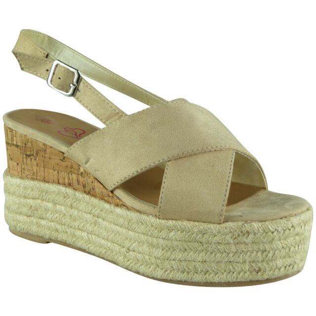 Womens Ladies Cork Hessian Strappy Espadrilles Platform Shoes Wedge Sandals Size