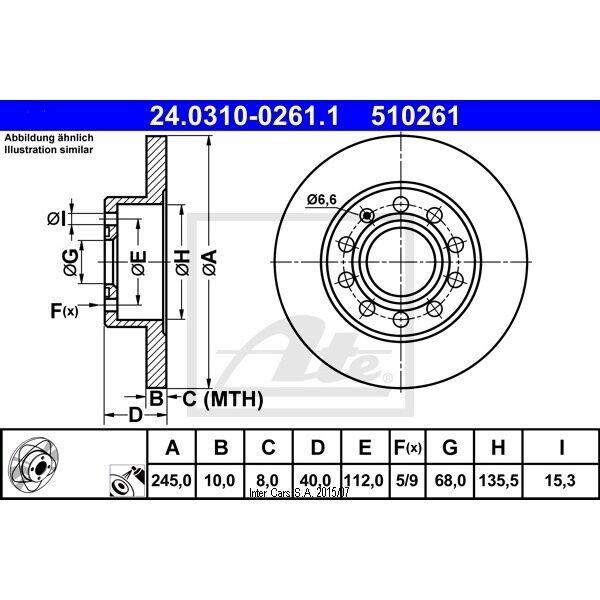 Bremsscheibe, 1 Stück ATE Power Disc hinten 24.0310-0261.1