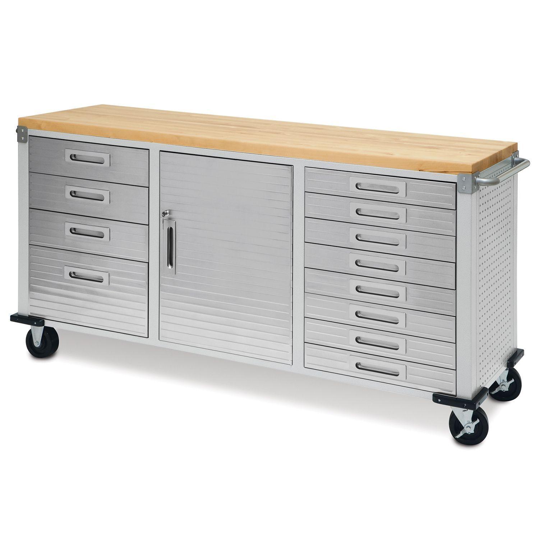 Garage Rolling Metal Steel Tool Box Storage Cabinet Wooden ...