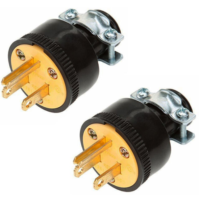 2pc heavy duty 3 prong male extension cord electrical plug replacement 125v 15a ebay. Black Bedroom Furniture Sets. Home Design Ideas