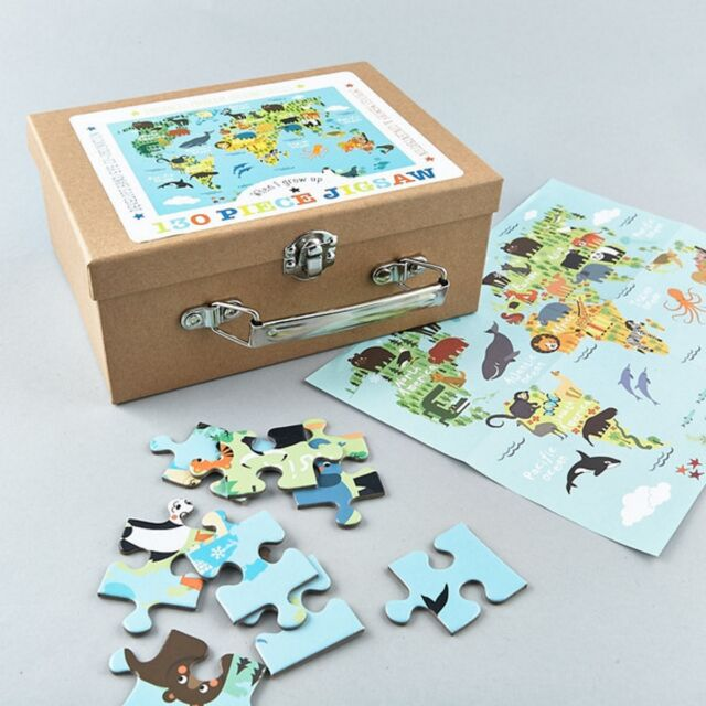 Childrens world continent animal map jigsaw puzzle 130 pieces ebay floss rock world map animals 130 pieces jigsaw kids fun game birthday gift box gumiabroncs Images