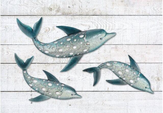 Dolphin fish wall art metal coastal nautical beach indoor outdoor hanging set 3