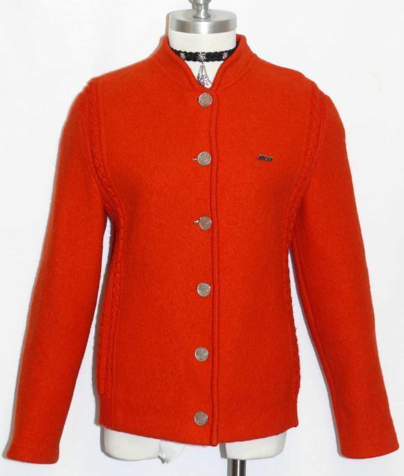 Litza Loden Boiled Wool Red Sweater Jacket German Women Warm ...