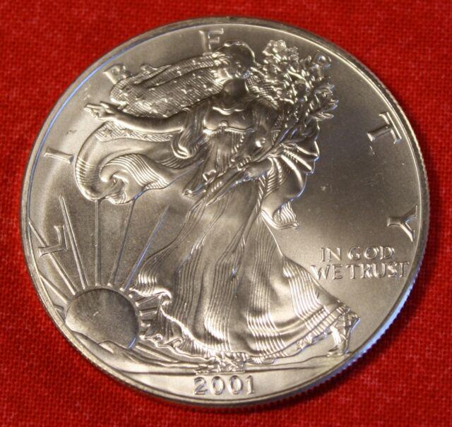 2001 AMERICAN SILVER EAGLE DOLLAR 1 oz .999% BU GREAT COLLECTOR COIN GIFT