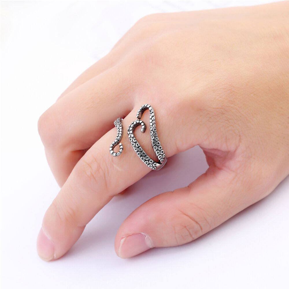 Gothic Punk Adjustable Silver Plated Ocean Octopus Tentacles Finger ...