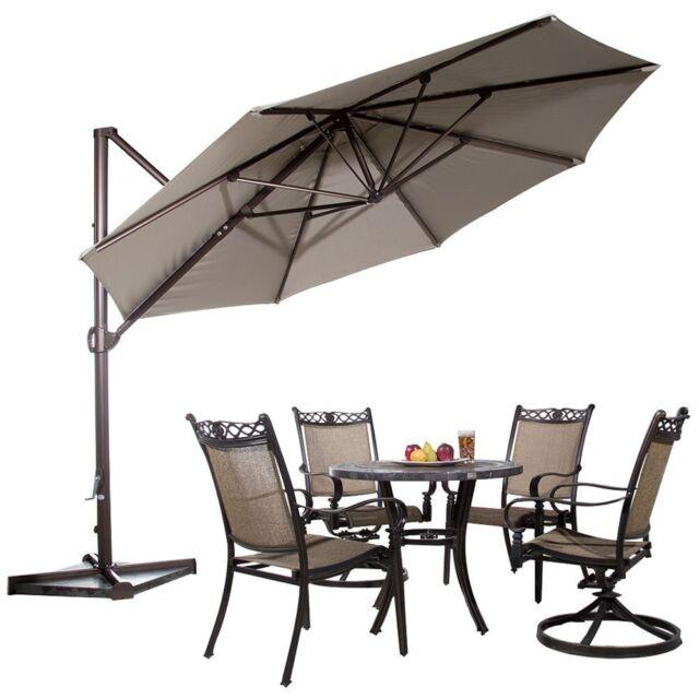 abba patio 11 aluminum offset cantilever umbrella with cross