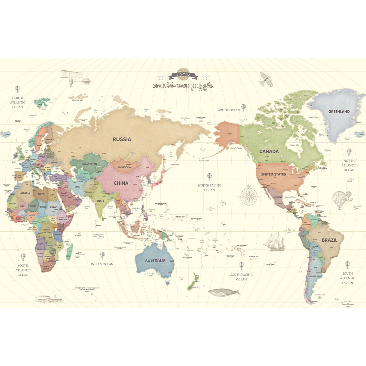 World map pastel color 1000 piece jigsaw puzzle indigopuzzle ebay picture 1 of 4 gumiabroncs Images