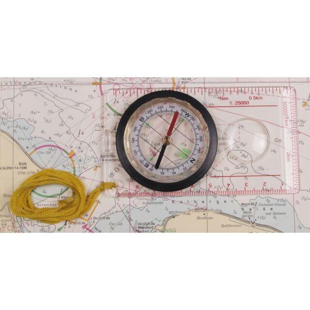 Karten-Kompass, Plastikgeh., Lupe, Messeinrichtung, flüssigkeitsgedämpft