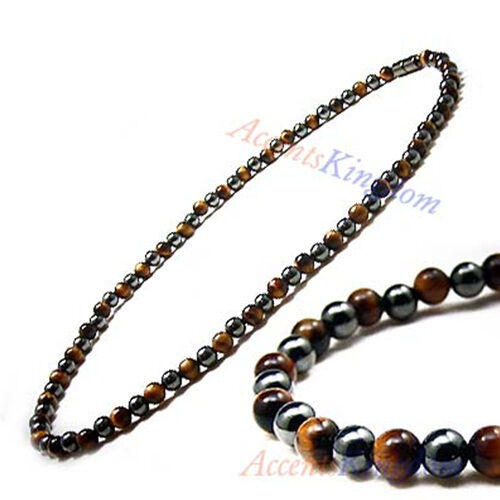 Accents Kingdom Men's Magnetic Hematite Tiger's Eye Bead Necklace b02DAlqWLy