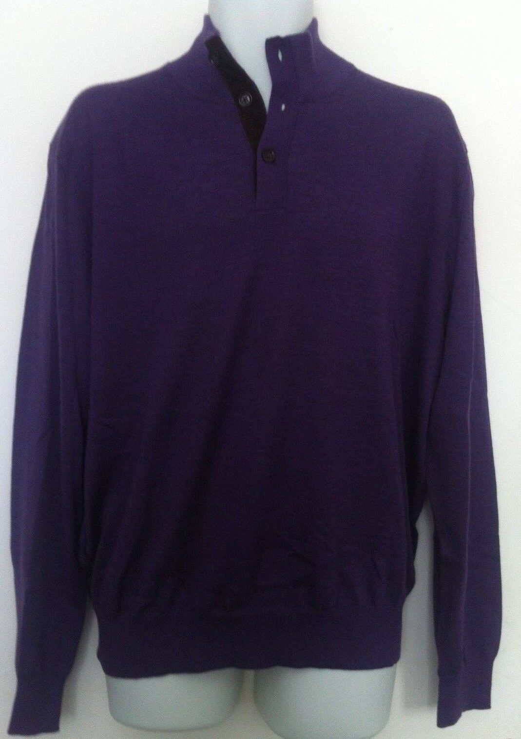 Polo Ralph Lauren Sweater Solid Purple Merino Wool Buttons Sz XL ...