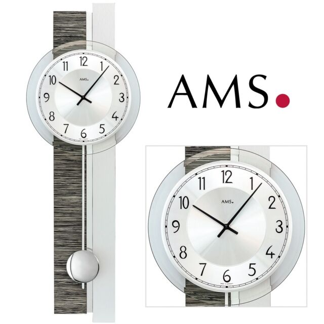 AMS 7439 Wall Clock Quartz With Pendulum Silver Grey Living Room