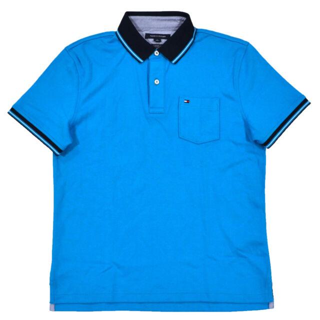 1cb1bb852 31 watching. Tommy Hilfiger Mens Polo Shirt Custom Fit Interlock Top Pocket  Flag ...