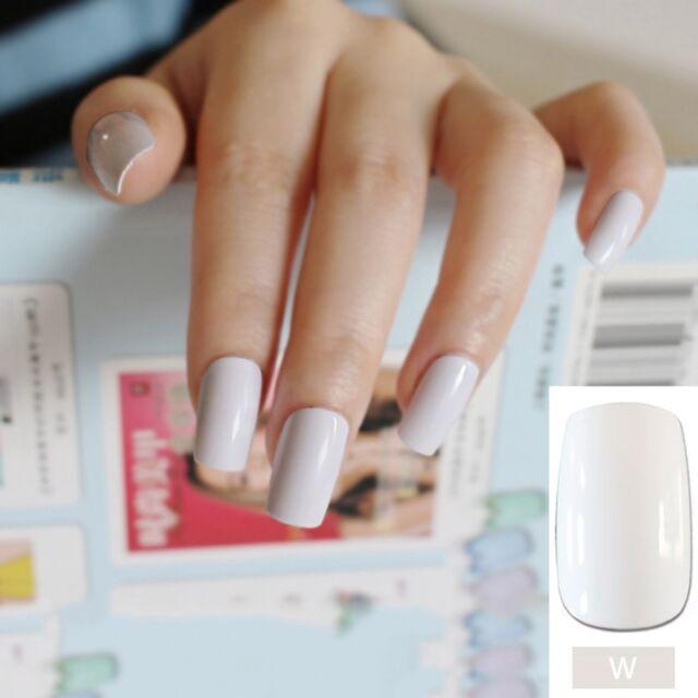 Pure White Acrylic Fake Nail Tips Natural Flat Long Size Artificial ...