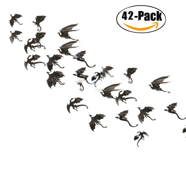 42 Pcs Wall Stickers 3D Dragon Wall Decor Decals Halloween Decorations