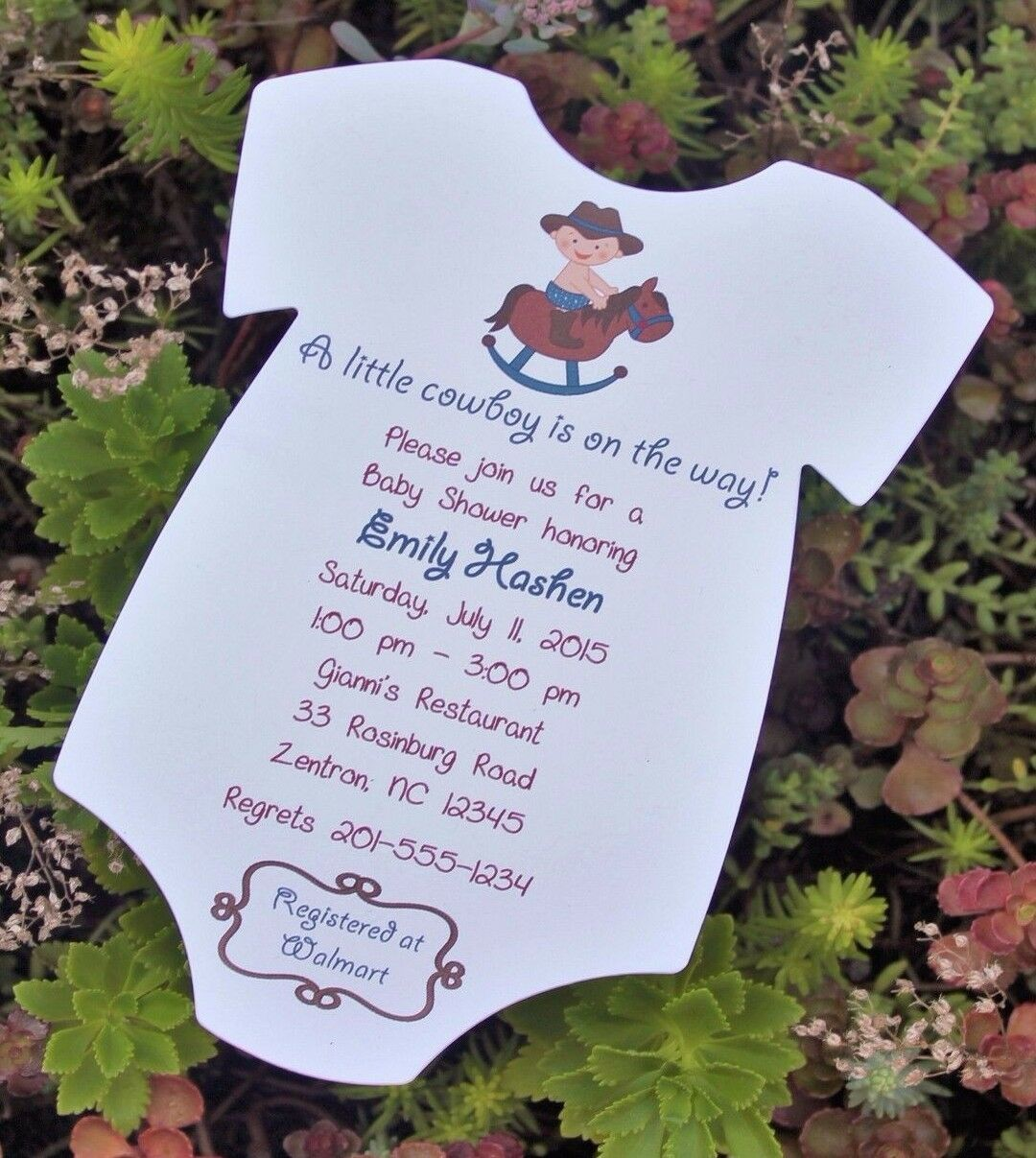 Cowboy Rocking Horse Themed Baby Shower Invitation All Wording ...