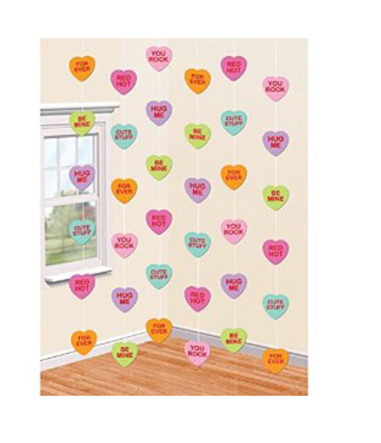 6 String Candy Heart Party Decorations