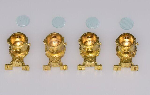 Dingler 4 DB Lampen klein mit Streugläsern Spur 1 aus Messing (1Z-140/01)