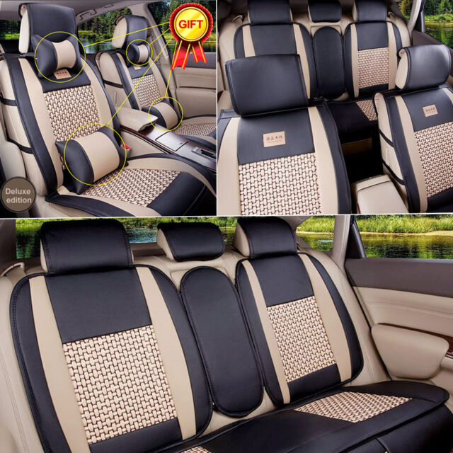 PU Leather Car Seat Cover 5 Seats Front Rear Size L Mesh Cushion W ...