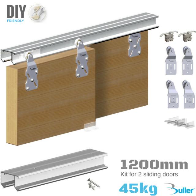 wardrobe double top hung sliding door gear 45kg 1200mm track set for 2 doors