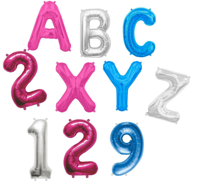 "LETTER & NUMBER 16"" Air Fill FOIL BALLOON A-Z Any Age Name or Message 4 COLOURS"