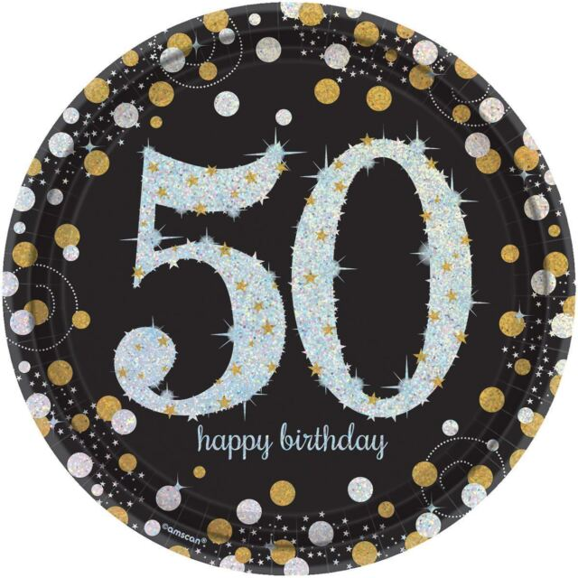 8 Gold Black Sparkle Celebration 50th Birthday Party Large 23cm