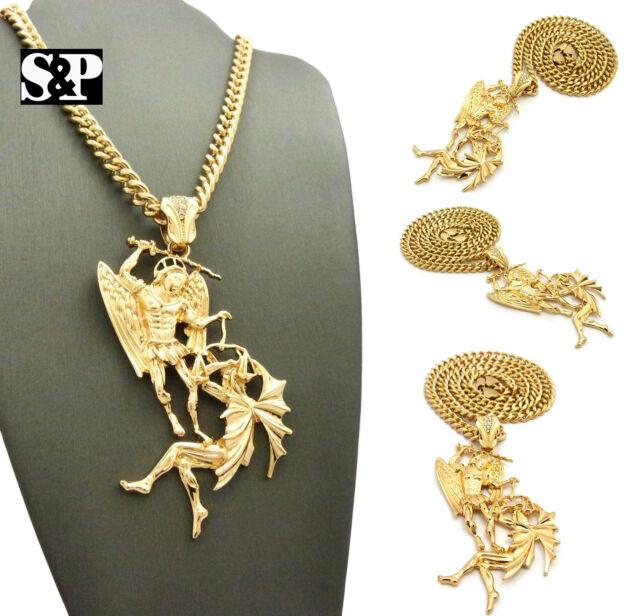 Hip hop gold pt saint michael archangel pendant w 6mm 24 cuban hip hop gold pt saint michael archangel pendant w 6mm 24 cuban chain necklace aloadofball Choice Image