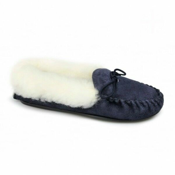 Mokkers KIRSTY Womens Ladies Suede Soft Warm Comfy Moccasin Winter Slippers Navy