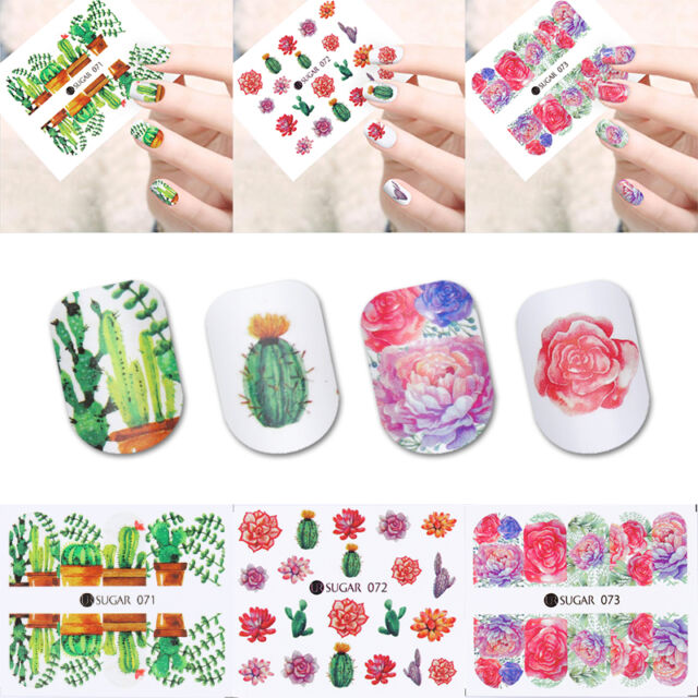 4 Sheets Nail Art Water Decals Cactus Succulent Plant Transfer ...