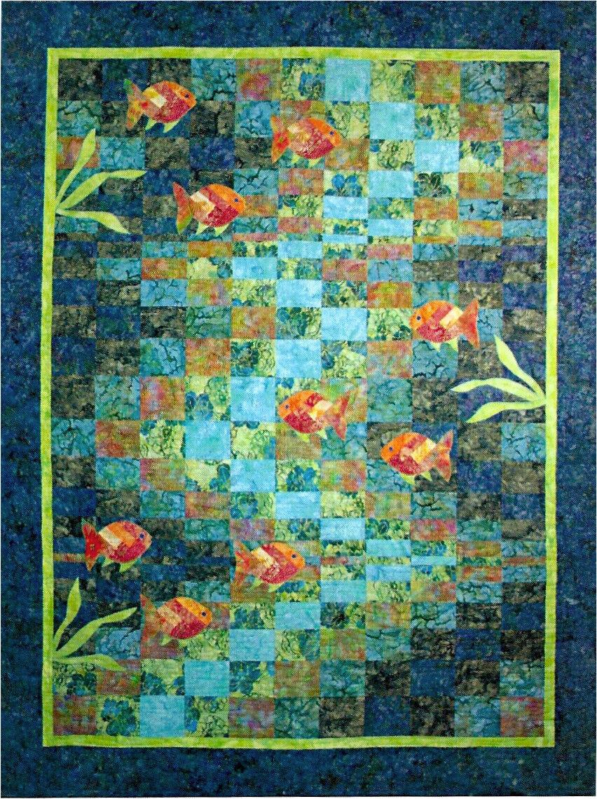 Molokini Bay Bargello Ocean Fish Quilt Pattern Quilting Time | eBay : fish quilt - Adamdwight.com