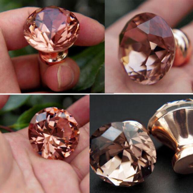 1pcs Unique Color Pull Handle Rose Gold K9 Crystal Cabinet Drawer ...