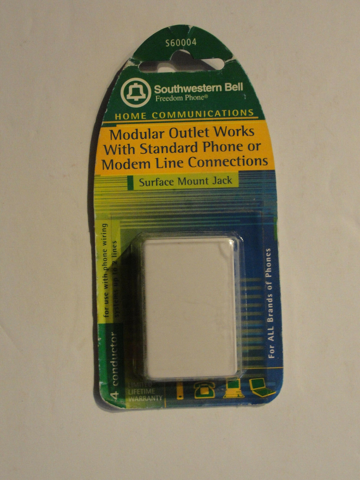 Southwestern Bell S60004 Surface Mount Jack White Ebay Wiring A Phone For 2 Lines Picture 1 Of