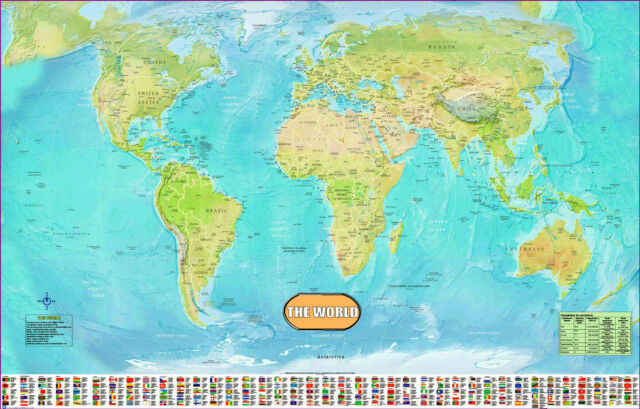 Large huge laminated world map poster wall chart flags educational large huge laminated world map poster wall chart flags educational a1 size sciox Image collections
