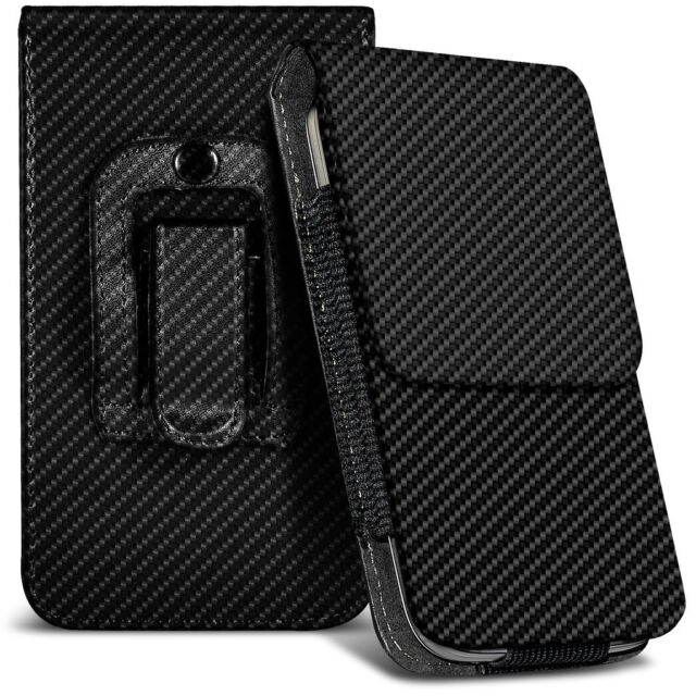 Veritcal Carbon Fibre Belt Pouch Holster Case For Alcatel Pixi 3 (3.5) Firefox