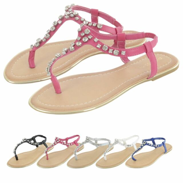 ba0ee03da7a8 Pia Rossini Womens Sandals Slip On Flat Summer Beach Holiday Diamante Ladies