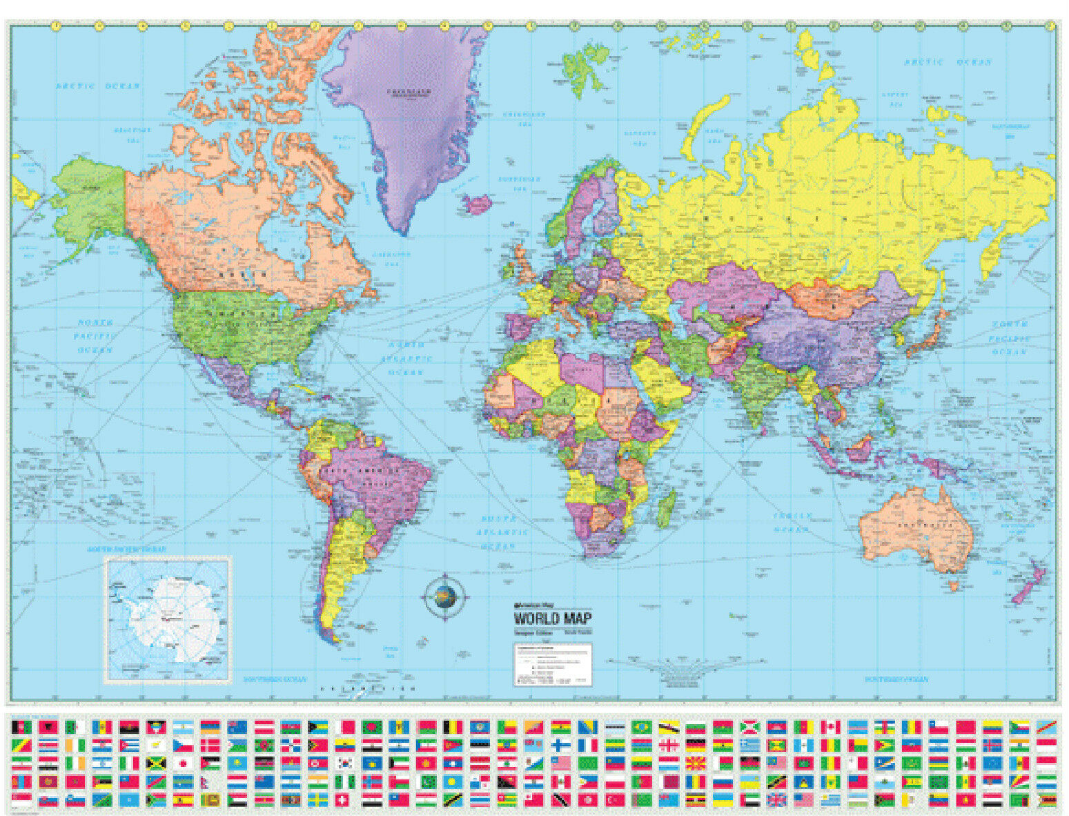 World wall map poster political flags home office school 48x36 picture 1 of 2 sciox Image collections