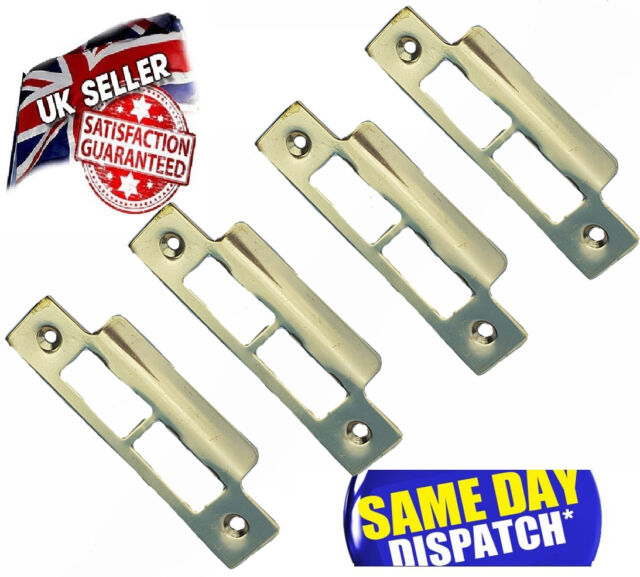 1 X Strike Plate Brass Plated Use With Tubular Mortice Door Lock/Latch