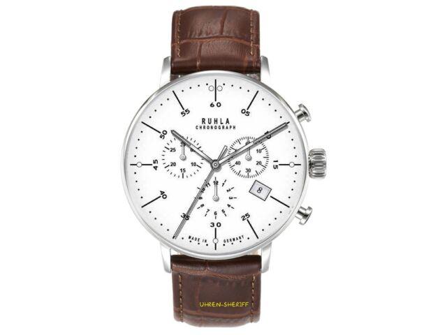 Ruhla Chronograph 91203 klassisch Bauhaus mit Lederband Datum Stopp Quarz