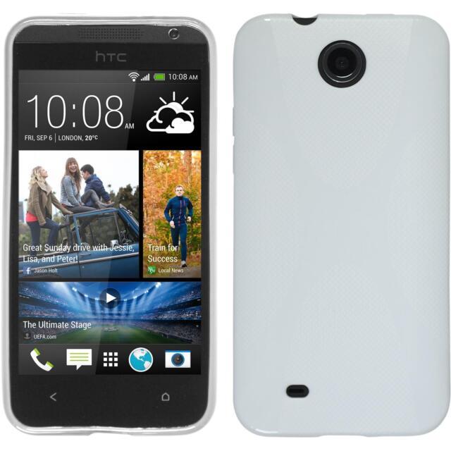 Silicone Case for HTC Desire 300 X-Style white + protective foils