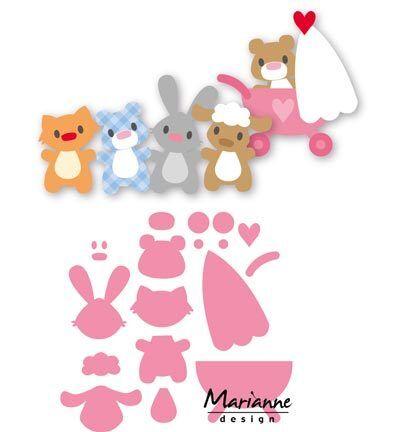Stanz-/Prägeschablonen Collectables baby animals Bär Hase MarianneDesign COL1422