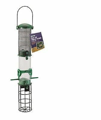 Flip top triple wild bird feeder.  Suitable for peanuts, seeds and fat balls